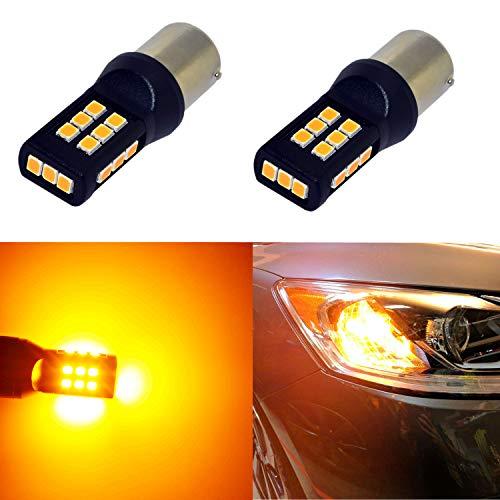 Alla Lighting BA15S 1156 Amber Yellow LED Bulbs Xtreme Super Bright P21W 7506 1156 LED Bulb 3035 21-SMD 12V LED 1156 Bulb for Car Truck Motorcycle RV Turn Signal Blinker Lights