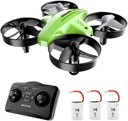 ATOYX Drone Enfant d'intérieur Hélicoptère Télécommandé Quadcopter Mini Drones pour Enfants avec Mode sans Tête Avion Mini avec Télécommande Jouet Cadeau pour Enfant et Débutant AT-66C (Vert)