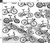 Spoonflower Stoff – Bikes abstraktes Fahrrad schwarz weiß