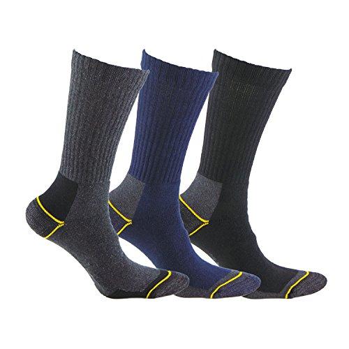 Calcetines de TRABAJO (3 pares) SIN COSTURAS para todo el año, con talón y puntera reforzados, ideal para el uso con calzado de seguridad y para situaciones de frío y humedad.