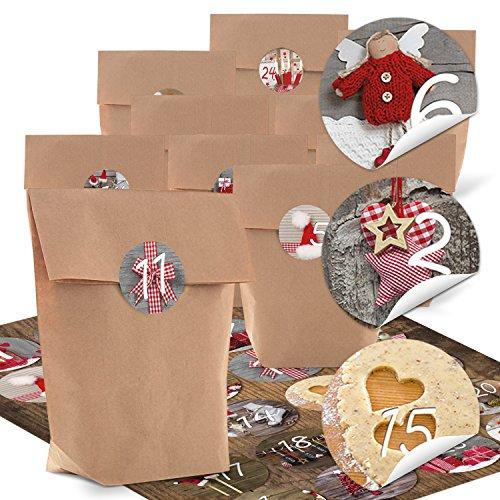 Logbuch-Verlag kit de bricolage pour calendrier de l'Avent - 24 petits sac en papier kraft (14 x 22 x 5,6 cm) + 24 autocollants rouges marron gris