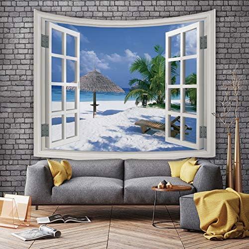 150x130cm 3D HDprinttapijt eenvoudig en modern landschap buiten het raam wandtapijten kunst wandtapijt buiten het raam stad nachtzicht kamerindeling achtergronddoek