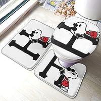 Snoopy!吸収性のあるラグバスマット 浴室地カーペット バスマットラグバスルーム洗えるu字型台座ラグふたトイレシートカバー滑り止め3個余分な柔らかくて 便座カバー マット 吸水 速乾 防寒 ノンスリップ