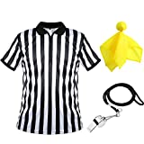 Men's Official Umpire Jersey, Black and White Stripe Overturned Collar Referee Shirt, Yellow Penalty Flag and Stainless Steel Whistle with Lanyard for Basketball Football Soccer (Small)