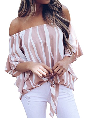 Silindashop Off Shoulder Shirt for Women Sexy Summer 3 4 Sleeve Striped Tops Tie Front Blouse Pink Cold Shoulder Bell Sleeve Blouse Pink S