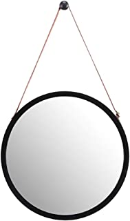 """WILSHINE Small Black Round Wall Mirror with Frame for Entryway Living Room Office Modern Lightweight with Faux Leather Strap, 15"""""""