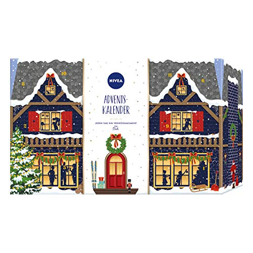 NIVEA Adventskalender 2020 für 24 einzigartige Verwöhnmomente, Weihnachtskalender mit ausgewählten Pflegeprodukten & Accessoires, Pflegeset für die Adventszeit