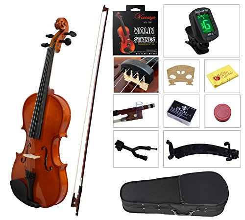 YMC Full Size 4/4 Violin Starter Kit with Hard Case,Bow,Rosin,Extra Strings,Shoulder Rest,Mute,Electronic Tuner,Pinky Holder,Polish Cloth,Violin Hanger-Natural
