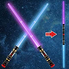2-in-1 lightsabers Set include 2 Pack Extendable and Collapsable Laser Sword(expands from 18 to 33 inches in length), with Easy-to-Grip Design Handle and a Double Blade Dual Connector. The light up sword toy have LED Flashing MODE(3 options: Purple, ...