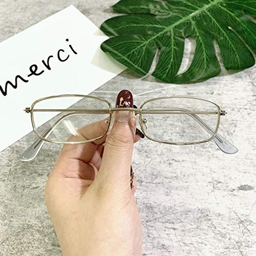 WQZYY&ASDCD Gafas de Sol Pequeñas Gafas De Sol Rectangulares De Tonos Retro Vintage Uv400 con Marco Cuadrado De Metal, Lentes Transparentes, Gafas De Sol, Gafas para Hombres Y Mujeres-Silver_F_Clear