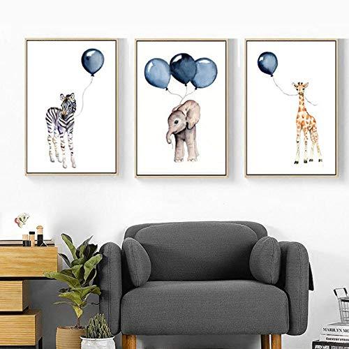 LLXHG Scandinavisch karikatuur baby dieren canvas schilderij kinderkamer blauw ballon kunst poster zebra olifant print wandafbeeldingen kinderkamer decor-30X40Cmx3Pcs niet-ingelijst