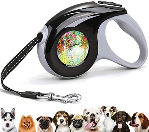 Retractable 360 Tangle Free Pet Walking Leash Watercolor Painting Colorful Rose Morning Glory product image
