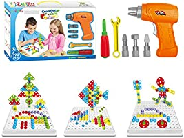 Zeliku Building Block Games Set With Toy Drill & ScrewDriver Tool set | Educational building blocks construction games|...