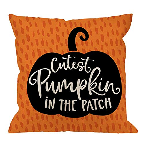 Funda de cojín de Halloween con diseño de calabaza en el parche, algodón y lino, poliéster, decoración del hogar, sofá, escritorio, silla, dormitorio, cuadrado, funda de almohada de 45,7 x 45,7 cm