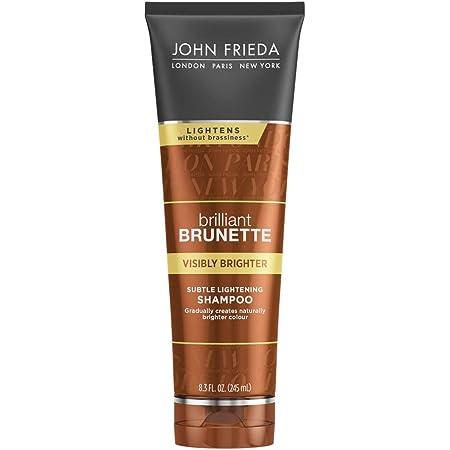 John Frieda Brilliant Brunette Visibly Brighter Subtle Lightening Shampoo, Eliminates Neutral Tones, Sleek Brown Shine, 8.3 Ounces, with Honey and Marigold Extract