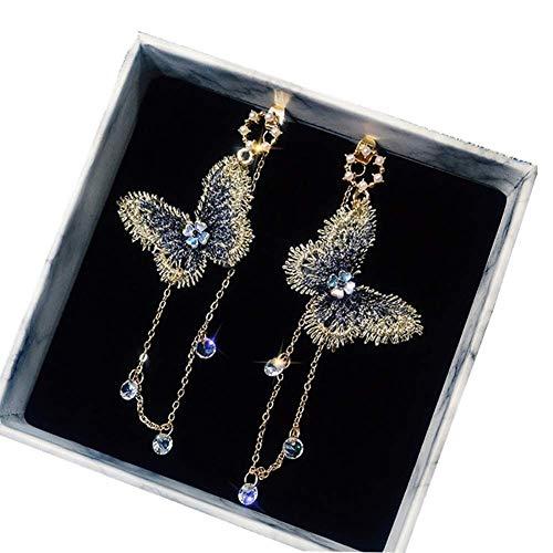 Carry stone Premium Qualität Frauen 'Lange Quaste Earrings Women Mode Schmetterling Strass Quaste Lange Baumeln Ohrstecker Schmuck Geschenk - Golden
