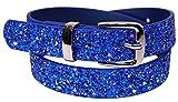 EANAGO Kindergürtel 'Eiskristall blau' für Mädchen (Kindergarten- und Grundschulkinder, 5-10 Jahre, Hüftumfang 57-72 cm), blau mit Glitzer, Gürtelmaß 65 cm