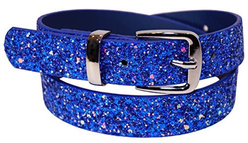 EANAGO Kindergürtel 'Eiskristall blau' für Mädchen – cooler Glitzergürtel in glitzerndem blau für Kinder im Kindergarten- & Grundschulalter, 5-10 Jahre, Hüftumfang 57-72 cm, Gürtelmaß 65 cm