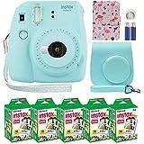 Fujifilm Instax Mini 9 Instant Camera Ice Blue with Custom Case + Fuji Instax Film Value Pack (50 Sheets) Flamingo Designer Photo Album for Fuji instax Mini 9 Photos