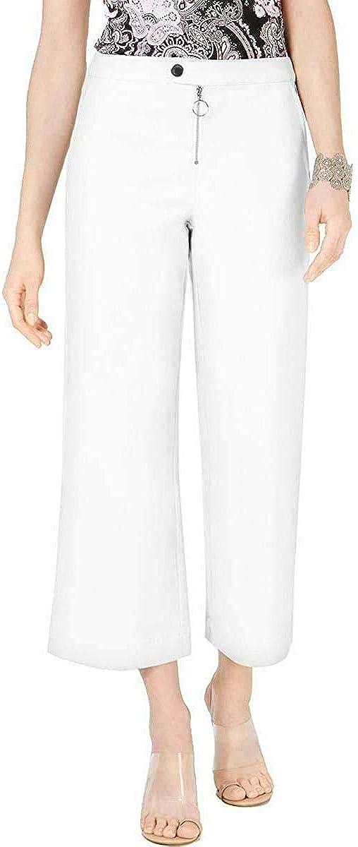 I.N.C. International Concepts INC Womens White Wide Leg Wear to Work Pants Size 8