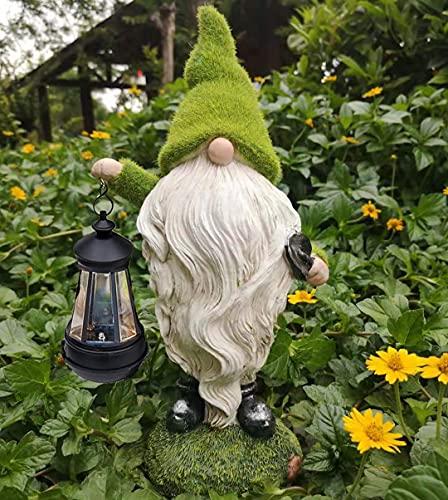 Solar Wichtel Garten Solarlampe für Außen Deko Sommer und Weihnachten Solarleuchte aus Kunstharz Gartenfigur Lichter LED, grünes Wichtelmann mit Solar Laterne Gartenleuchte, 33cm hoch