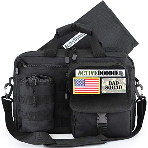 ActiveDoodie Dad Diaper Bag for Men with Tactical Advantage Gear, Changing Pad, Removable Bottle Pouch, Included Patches, Diaper Bags for Dad