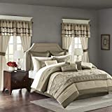 Madison Park Essentials Jelena Room in A Bag Faux Silk Comforter Classic Luxe All Season Down Alternative Bedding, Matching Bedskirt, Curtains, Decorative Pillows, Queen(90'x90'), Natural