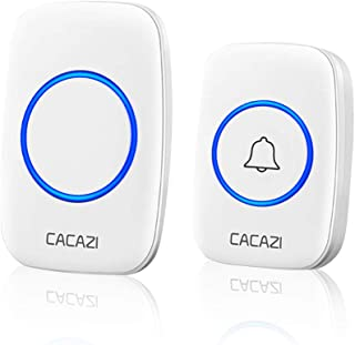 Wireless Doorbell, Plug-in Receiver, Waterproof Push Button with 1000 Ft Operating Range, 4 Volume Levels, 58 Chimes, LED flash & CD Sound For Home, Office, Classroom (White)