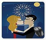 N\A Besos Dulce Doodle Dibujo estilizado Amor de Pareja en el Cielo Nocturno con Fuegos Artificiales y Luna, Alfombrilla de ratón Multicolor