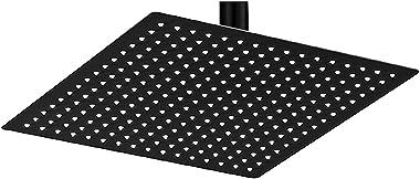 BESy - Alcachofa de ducha de 30,48 cm con lluvia cuadrada y de alta presión de acero inoxidable, ultrafina, cobertura de cuer