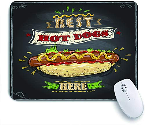 "Gaming Mouse Pad Custom,Chalkboard Inspired Best Here for Hot Dog Fast Food Stands Carts,Non-Slip Rubber Base Office Mousepad Mat Desk Decor 9.5""x7.9"""