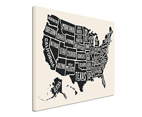 Paul Sinus Art XXL Fotoleinwand 120x80cm Vintage Illustration der USA mit Staaten auf Leinwand Exklusives Wandbild Moderne Fotografie für ihre Wand in vielen Größen