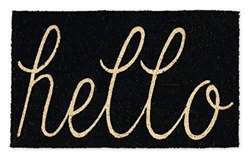 DII Hello Coir Fiber Doormat Non-Slip Durable Outdoor/Indoor, Pet Friendly, 18x30, Black