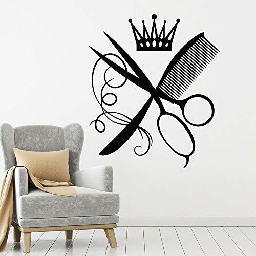 Tianpengyuanshuai Barbier muurtattoo kamschaar kroon kapper woonkamer beauty decoratie vinyl raamsticker kapsel wanddesign