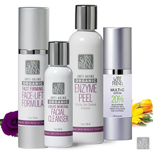 Organic Face Lift System from My Skin's Friend - Cleanser - Fine Line Erasers and Skin Tighteners Produce A Healthy Glow. System Includes 4 Products That Provide Profound Results with Regular Use.
