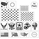 American Flag Stencil Templates - 14 Pack 50 Stars 13 Stars 1776 Punisher Skull Flag Map Navy Army Airforce Marines Stencils, Reusable Plastic Stencils for Painting on Wood & Wall