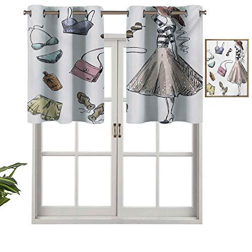Hiiiman Cenefa de diseño de moda con aislamiento térmico para ventana, colección de ropa y accesorios de verano con mujer joven, juego de 2, 137 x 91 cm para habitación de los niños
