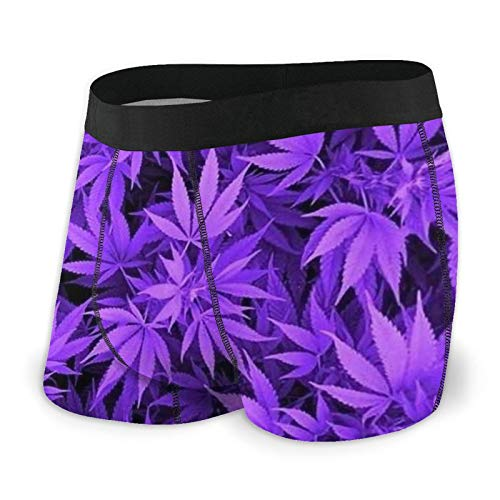Antokos Herren-Boxershorts, enganliegend, Marihuana-Weed-Slip, schnelltrocknende Unterwäsche Gr. M, Schwarz