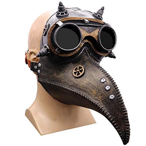 Industrielle Steampunk Pest Doktor Vogel Horror Maske - Latex Vögel Schnabel Masken Halloween Kunst Cosplay Karneval Kostüm Requisiten,Braun
