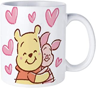 Winnie The Pooh And Piglet Hug Coffee Mug Tea Cup White,Cute Birthday Ideas for Wife on Valentine's Day and Christmas Double-sided printing funny pattern