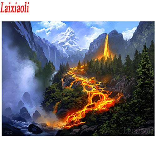 Mssdezb DIY 5D Volledige Diamant Schilderen Kruissteek Borduurwerk Vulkaan Lava Flow Landschap Home Decoratie Strass Ambacht 40X50Cm(16X20Inch)