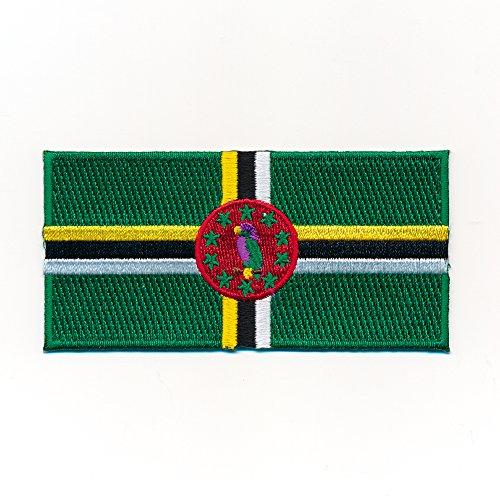 40 x 20 mm Dominica Flagge Roseau Flag Karibik Edel Aufnäher Aufbügler 1047 Mini