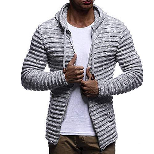 Riou Herren Strickjacke Cardigan Beiläufige DünneStrickpullover mit Kapuze Kapuzenpullover Pullover Männer =Herbst Winter Solid Knit Streifen Mantel Jacke Langarm Outwear (XL, Grau)