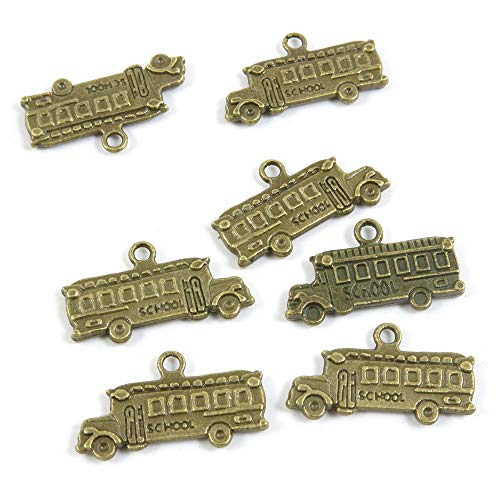 Antieke Bronzen Toon Sieraden Charms S02494 School Bus Ambachtelijke Kunst maken Crafting Kralen Antiek brons