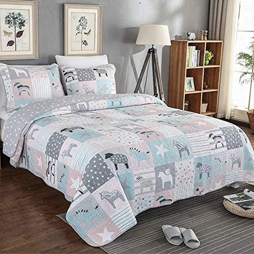 Colcha de 3 piezas, edredones de retazos acolchados de verano, elegantes fundas de cama impresas (230 * 250 cm), fundas de almohada (50 * 70 cm * 2), multifunción, para todas las estaciones, hipoalerg