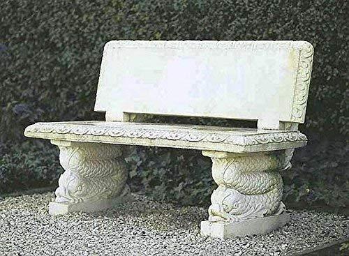 pompidu-living Steinbank mit Rückenlehne - Steinbank in Antik Optik - Wetterfeste Sitzbank aus Steinguss - Steinmöbel für Outdoor H 85 cm Sandstein