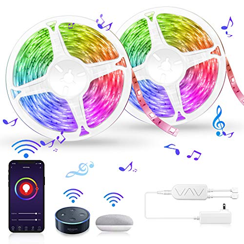 LED Strip Lights, Smart WiFi 32.8FT 10M 300 LEDs SMD 5050 Color Changing Kit Work with Alexa Google Assistant Strip Lights Wireless Phone APP Controlled Rope Lights Sync to Music Flexible Tape Lights