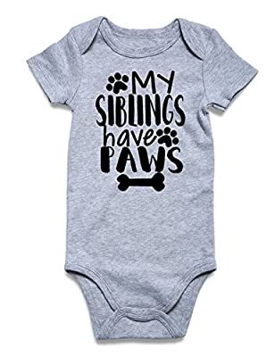 Unisex Baby Onesie My Siblings Have Paws Onesie Letter Print Paw Footprint Bones Short Sleeve Romper Bodysuits Newborn outfit Infant Cotton Grey Jumpsuit