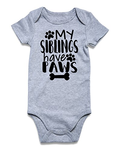 Funnycokid Newborn Baby One-Piece Underwear Shortsleeve Bodysuit Cute Baby Layette Clothes Grey 3-6 Months