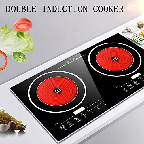 ZHFEISY Dual Induction Cooker - 2x1200W Electric Induction Cooktop Cooker Double Burner W/Timer &...